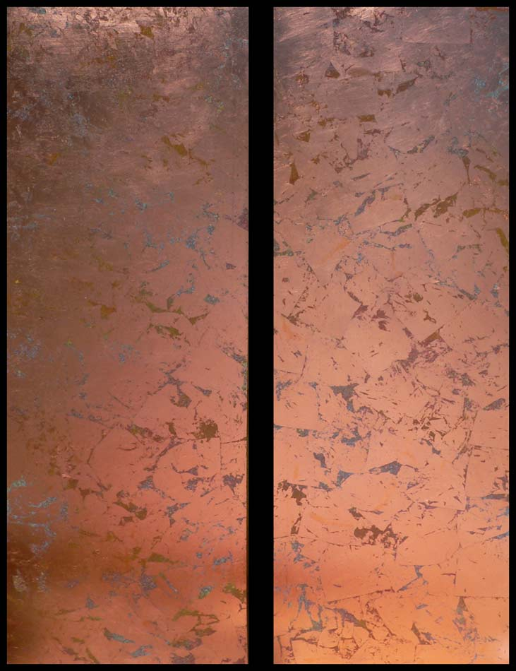 "Copper Colorfield:  copper leaf over acrylics on canvas, 2 panels; 60""x20""x1.5"" each,  2007"
