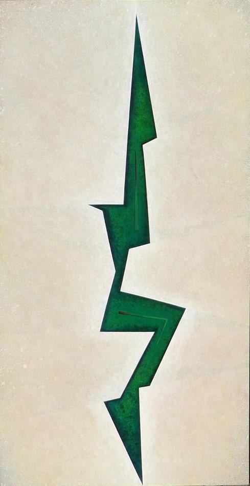 "Crevasse Vert: acrylic on canvas, 48""x24""x1.5"",  2003"