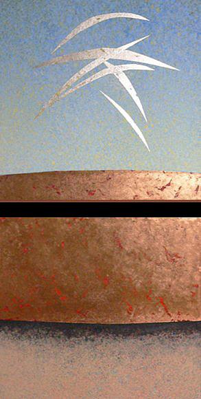 """Dream of Flight: 2 canvas,  16""""x16""""x1.5"""" each, acrylic w silver & copper leaf,  2005"""