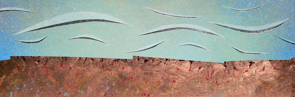 "Drifter: acrylic w silver and copper leaf on canvas,  20""x60""x1.25"",  2008"