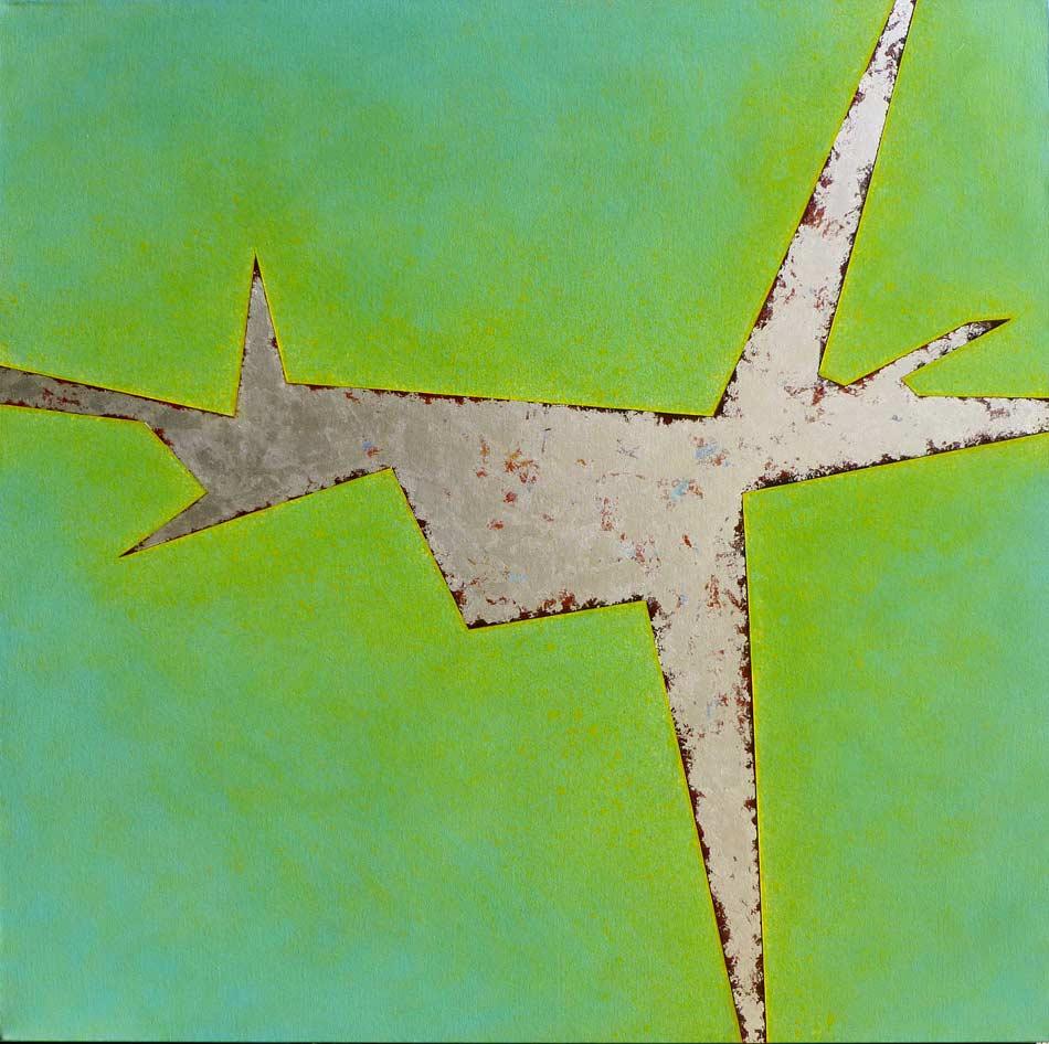 """Silver Solstice: acrylic on canvas w silver leaf, 48""""x48""""x1.5"""",  2006"""