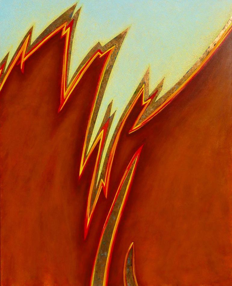 """Tsunami: acrylic on canvas w copper leaf, 60""""x48""""x1.5"""",  2006"""