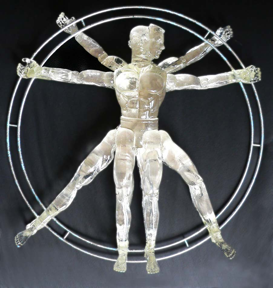 "Vitruvian Man: polyester resin, wire, silver leaf, 12""x12""x4"", 2012"